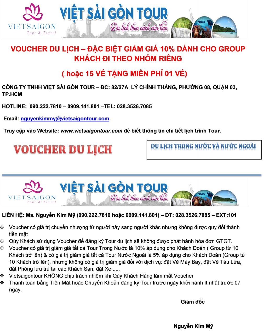 Voucher du lịch - đặc biệt giảm giá 10% dành cho Group khách đi theo nhóm riêng