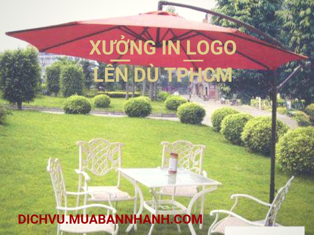 Xưởng in logo lên ô dù lệch tâm quán cafe che nắng ngoài trời sân vườn TPHCM