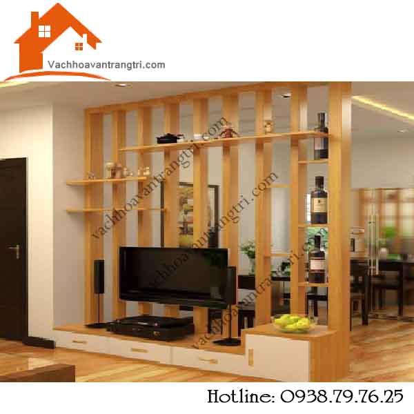 Công ty thi công ngăn phòng khách với lam gỗ trang trí giá rẻ