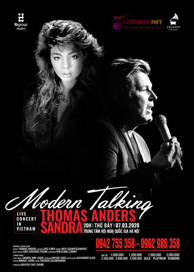 Bán Vé Liveshow Modern Talking Tại Hà Nội 7/3/2020- Vé Đẹp, Vé Chính Thống Từ Ban Tổ Chức