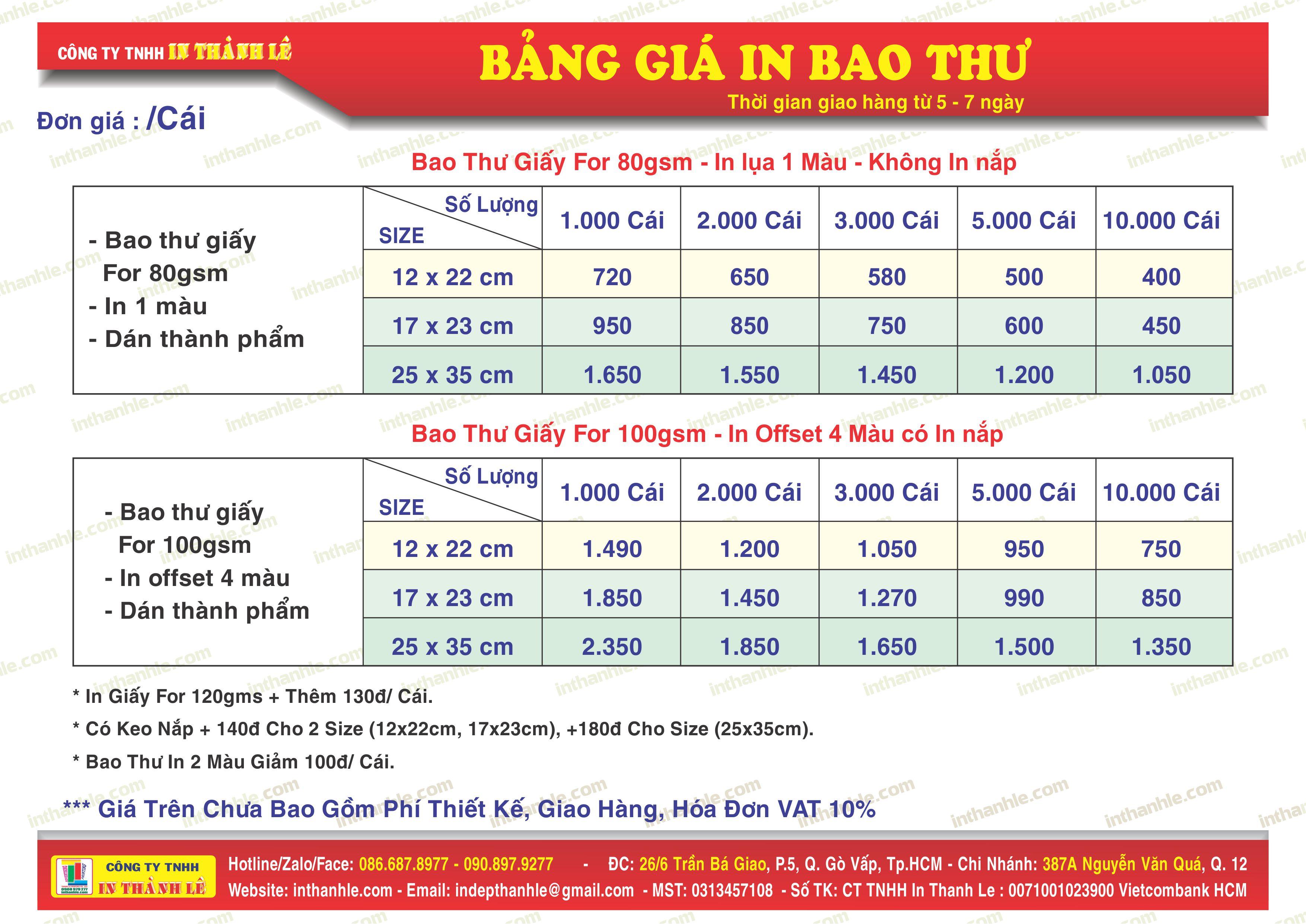 In Offset, Bao Thư, Túi Xách, Tờ Rơi, Danh Thiếp, Decal, Bao Bì
