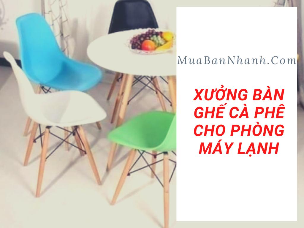 Xưởng bàn ghế cafe cho phòng máy lạnh - Bộ bàn ghế sofa đơn vải nhung, bàn mặt gỗ sơn cánh gián