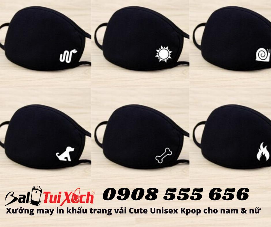 Xưởng may in khẩu trang vải Cute Unisex Kpop cho nam & nữ
