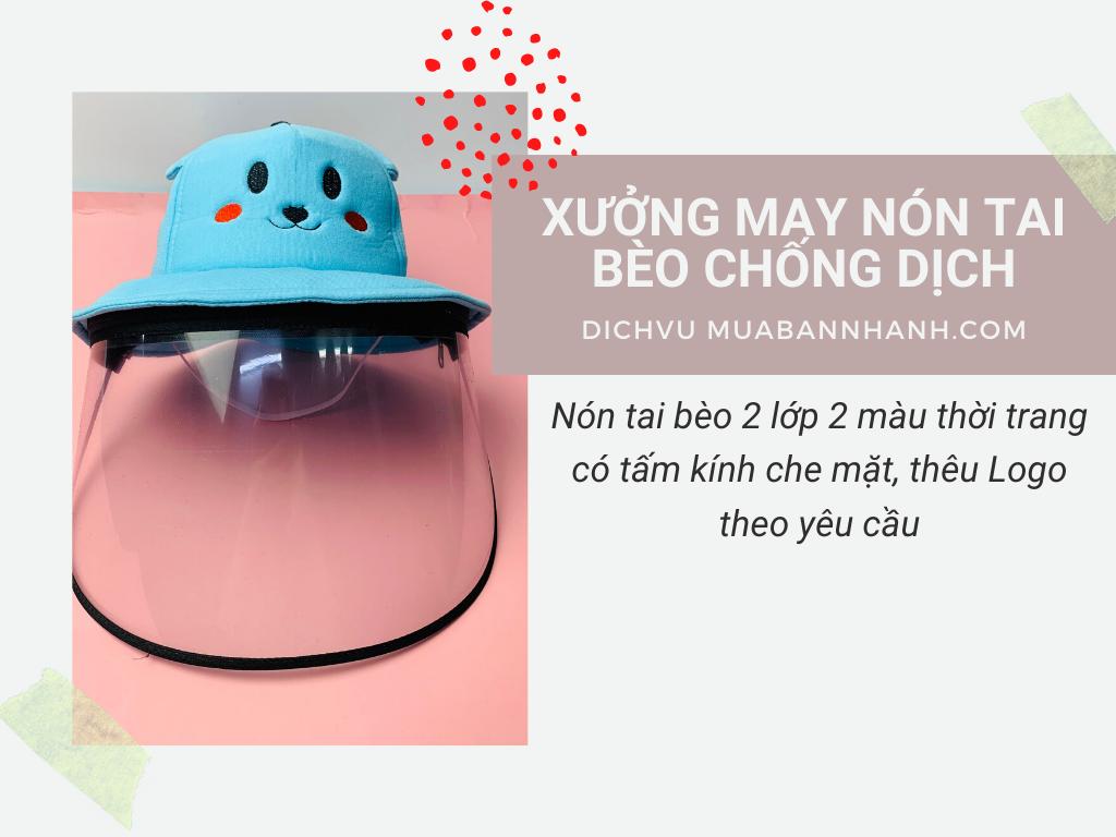 Xưởng may nón chống dịch, nón tai bèo 2 lớp 2 màu thời trang, tấm kính che mặt - In thêu logo theo yêu cầu