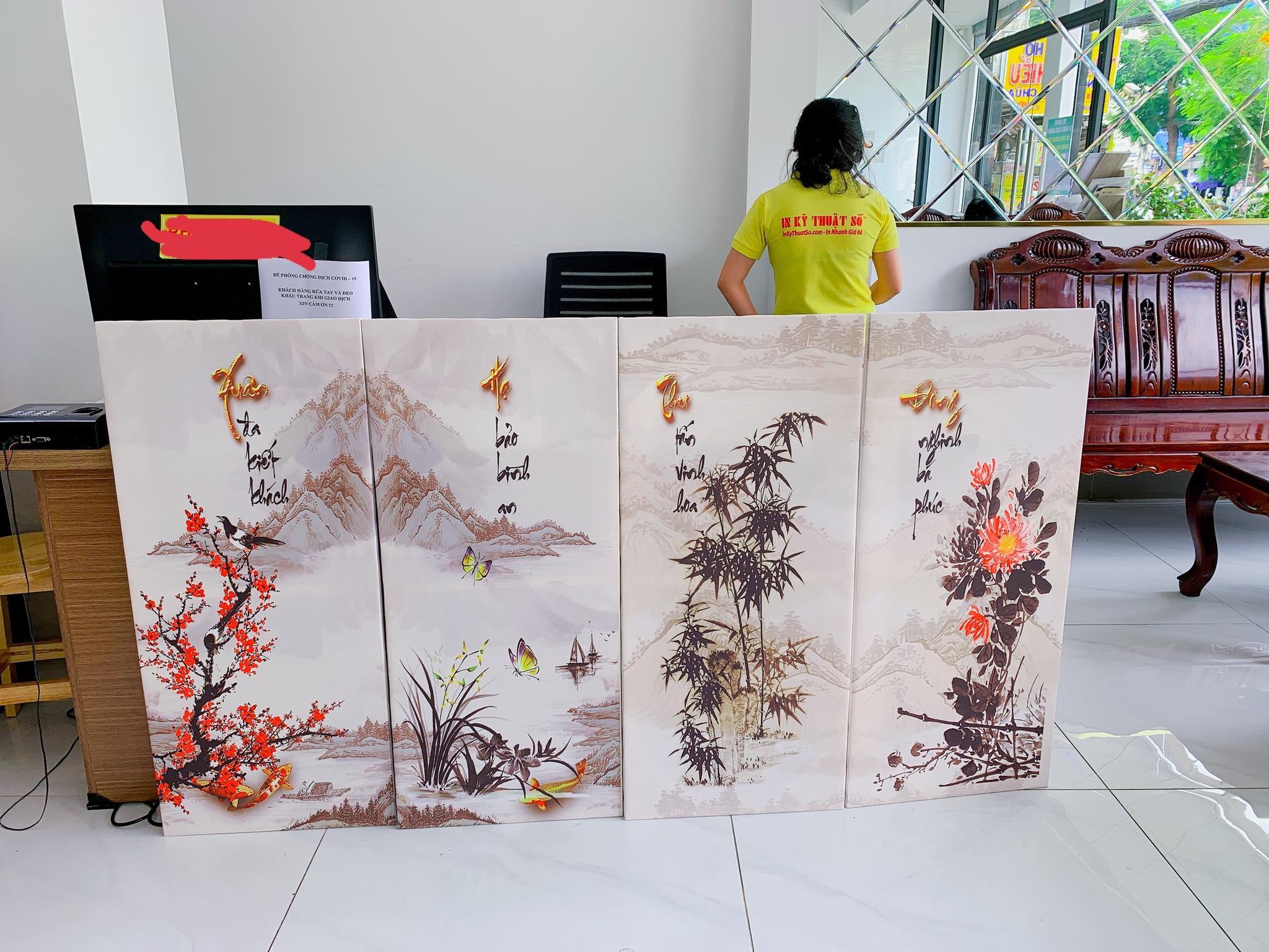 In tranh canvas bộ tứ quý Đào Lan Cúc Trúc