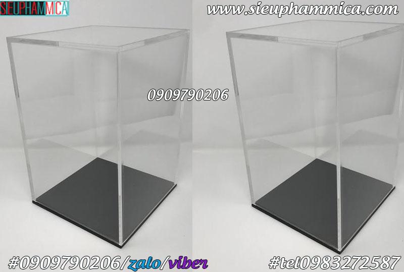 Hộp trưng bày mica, hộp chụp mica đế đen