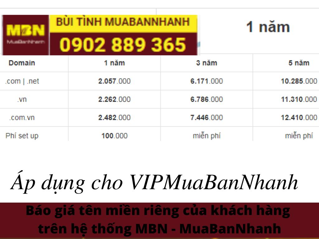 Báo giá domain VIP MuaBanNhanh