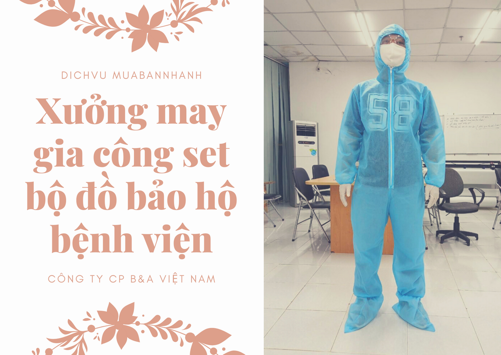 Xưởng may gia công set bộ đồ bảo hộ dùng một lần phòng chống dịch