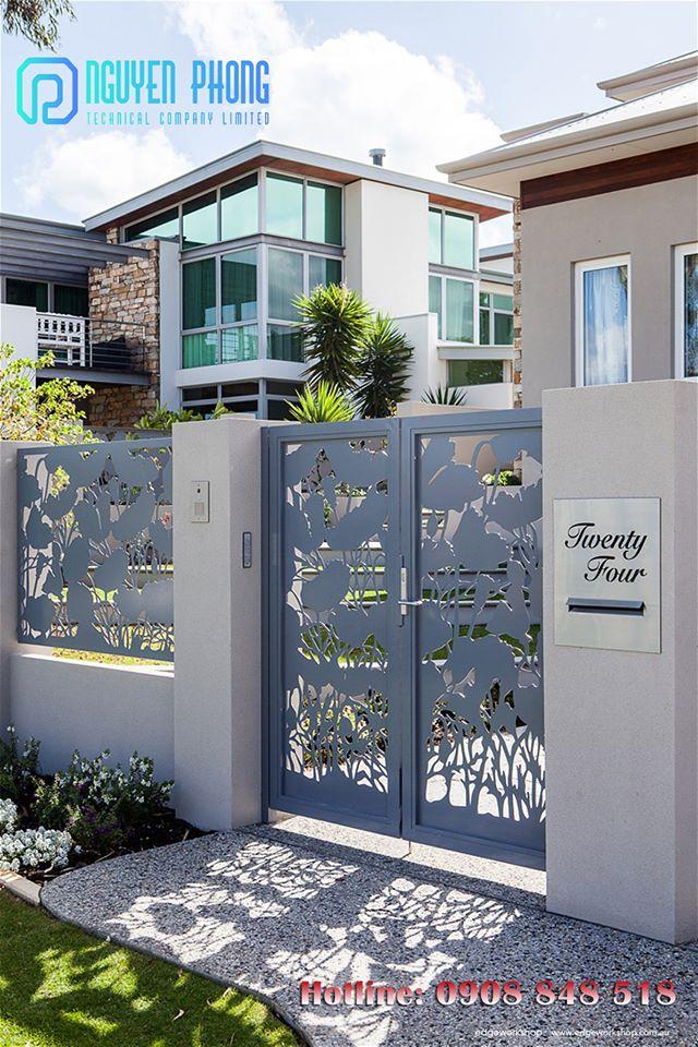 Cổng sắt CNC hoa văn hiện đại đẹp, giá tốt nhất cho biệt thự, nhà phố, villa HCM và khu vực lân cận