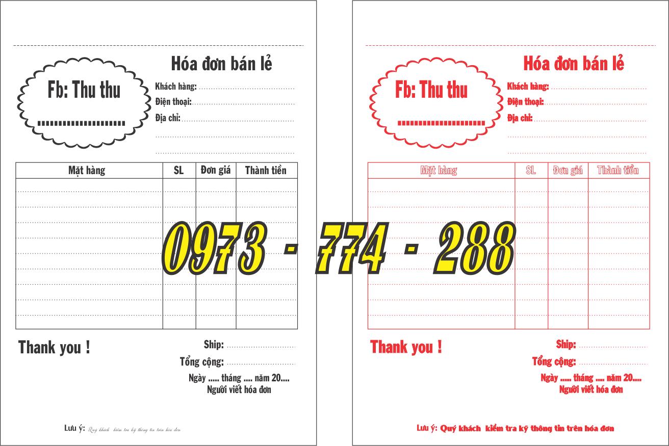Bảng giá in hóa đơn cacbon khổ A6 loại 1 liên - 2 liên - 3 liên