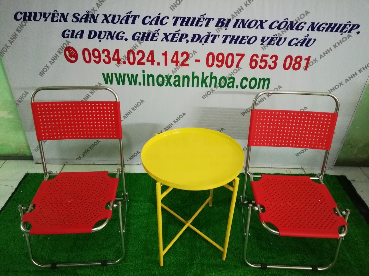 Xưởng sản xuất ghế xếp lưới Inox mặt nhựa giá rẻ