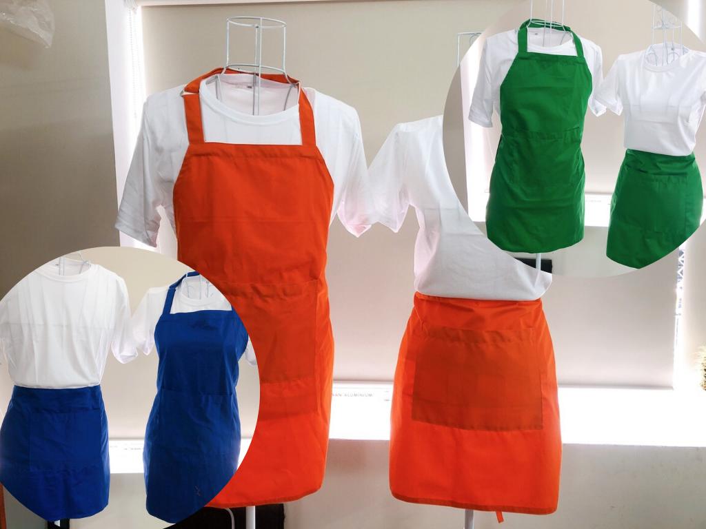 Đặt may tạp dề ngang hông, tạp dề ngắn - May tạp dề bếp, phục vụ, nhân viên pha chế theo yêu cầu giá rẻ tận xưởng TPHCM