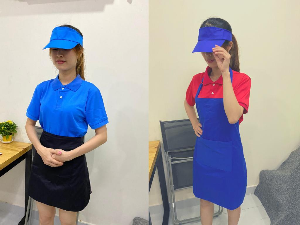 Top 10 set đồng phục nhân viên phục vụ đa sắc màu với nón không chóp - tạp dề ngắn - áo thun