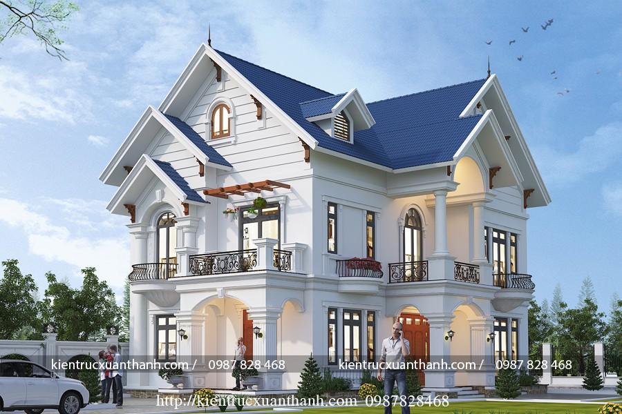 Đắm say với thiết kế biệt thự 2 tầng mái thái siêu đẹp BT18289