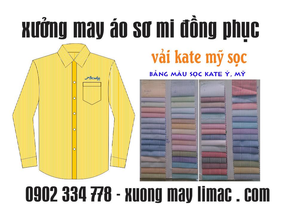 Xưởng may áo sơ mi kate mỹ sọc, kate ý sọc thêu logo theo yêu cầu từ 20 áo