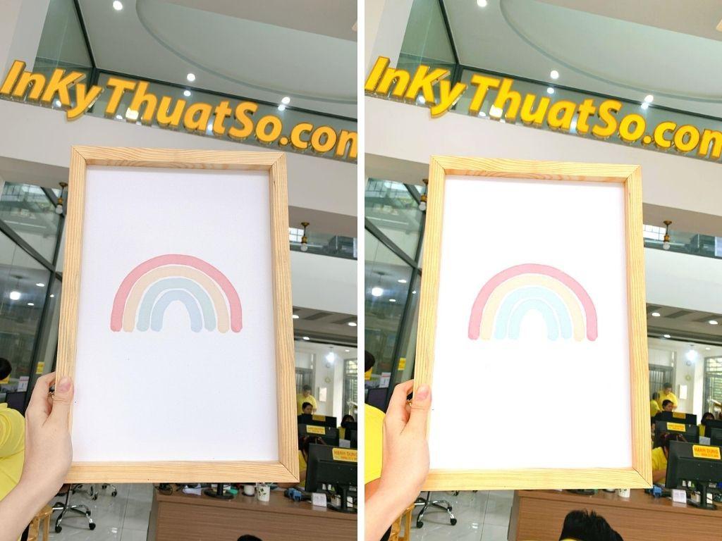 In tranh canvas cầu vồng - in tranh canvas phòng bé - tranh canvas phòng trẻ em - có đóng khung