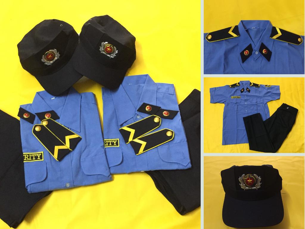 Xưởng may đồng phục bảo vệ giá tốt uy tín TPHCM - Nhận may full set áo, quần, nón, cầu vai, quân hàm in thêu logo công ty