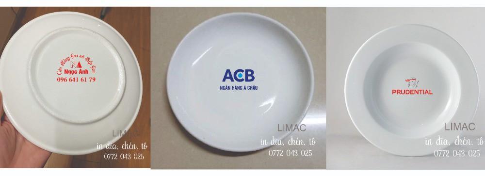 In dĩa sứ, dĩa sứ trắng in logo