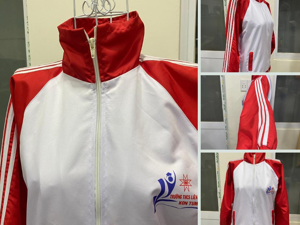 Đặt may áo khoác gió đồng phục học sinh 2 lớp in thêu logo trường học theo yêu cầu TPHCM