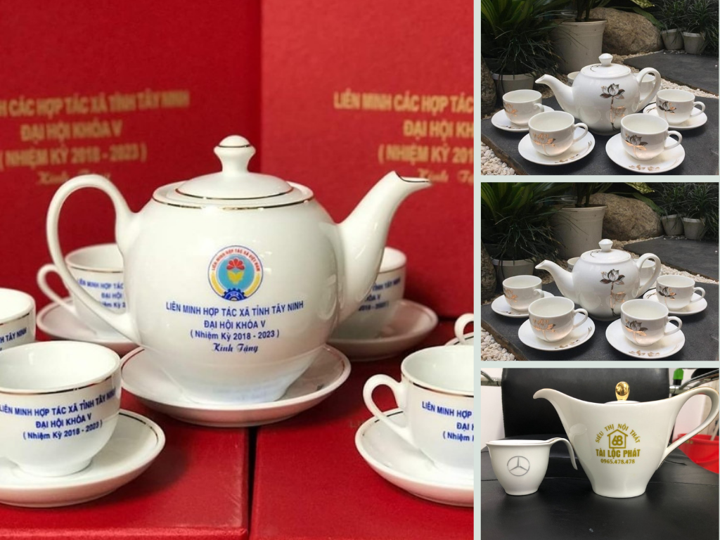 Báo giá in ấm chén quà tặng - bộ ấm chén, bộ ấm trà quà tặng in logo giá rẻ siêu đẹp từ TPHCM