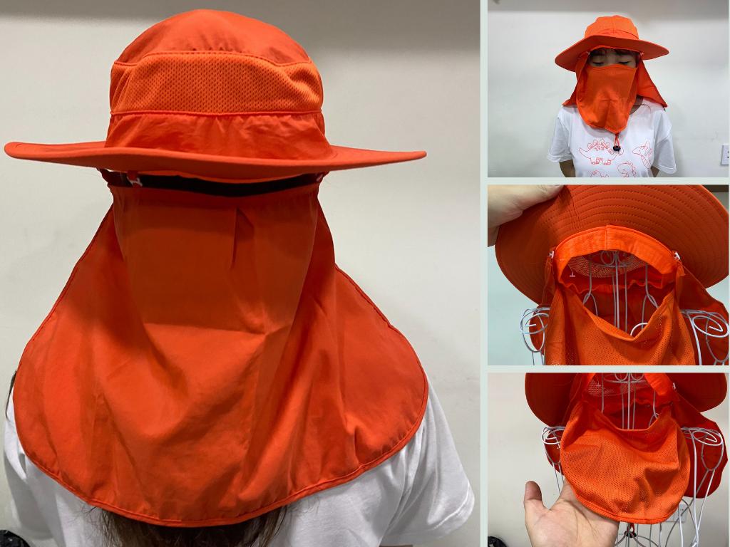 Xưởng may mũ chống nắng trùm mặt, che gáy kèm khẩu trang in thêu logo theo yêu cầu