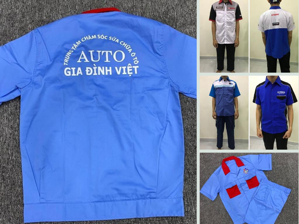 Xưởng may đồng phục sửa xe máy, xe ôtô, xe đạp điện - may theo màu hãng xe, in thêu logo, có may size lớn