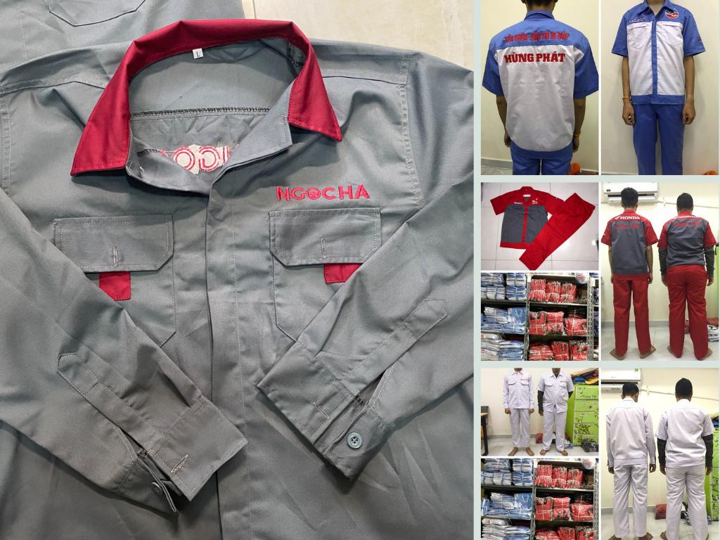Xưởng chuyên sản xuất đồng phục sửa xe Honda, Yamaha, Piagio bảo hộ lao động tay ngắn, tay dài theo yêu cầu TPHCM