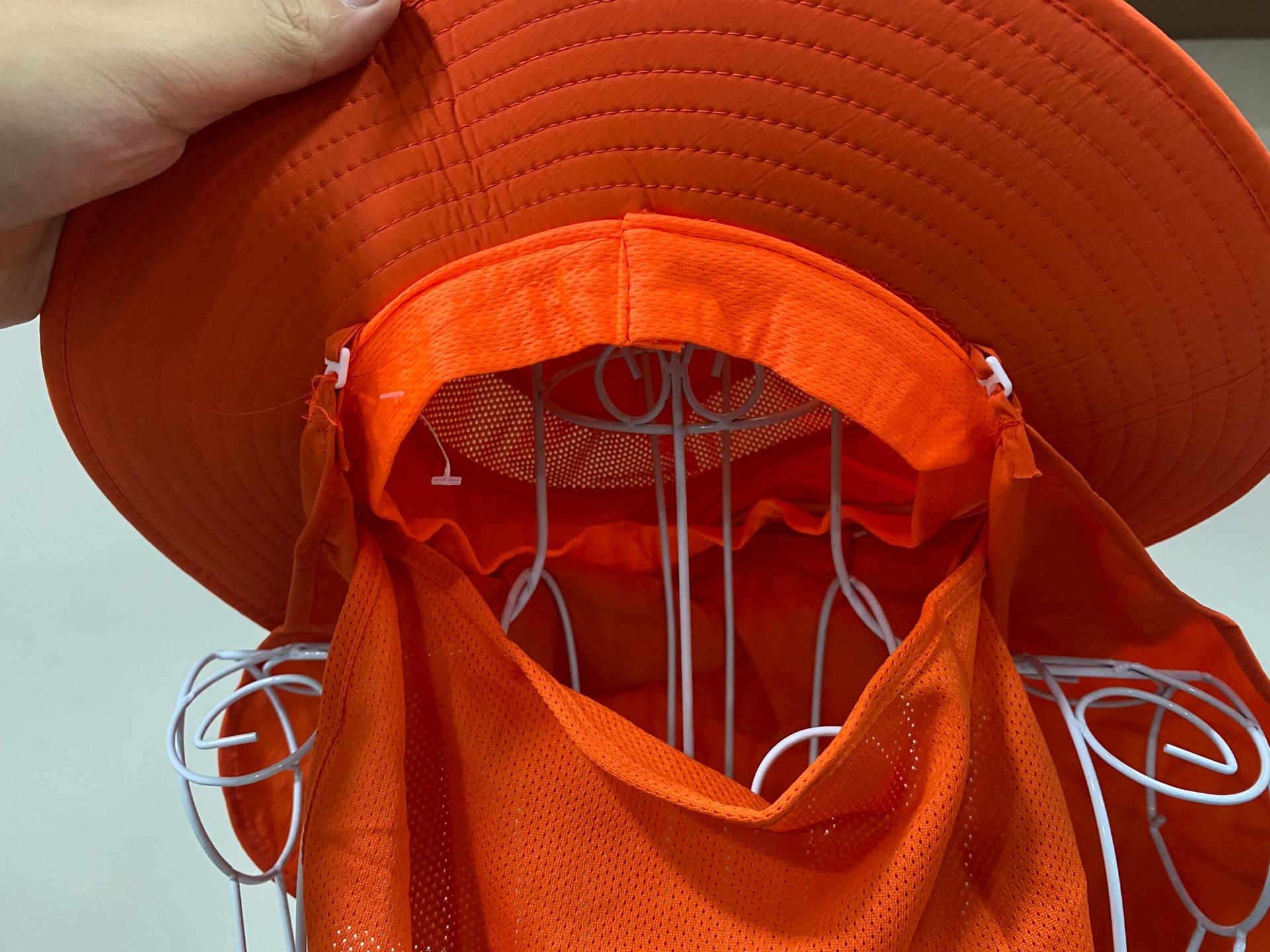 Mũ chống nắng trùm mặt, che gáy kèm khẩu trang in thêu logo