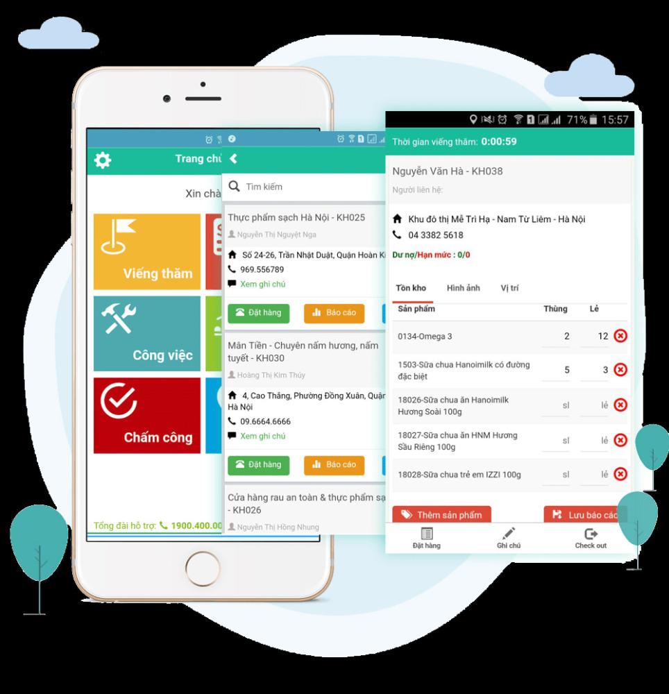 Dịch vụ phần mềm quản lý hệ thống nhân viên bán hàng đi Thị trường - DMS