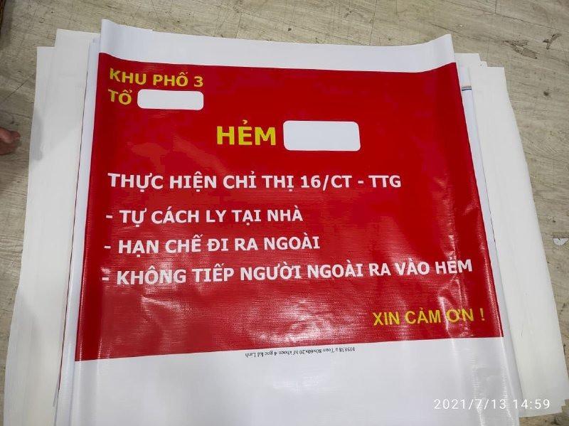 In banner biển báo: Chốt bảo vệ vùng xanh - Hẻm XXX thực hiện chỉ thị 16/CT - TTG