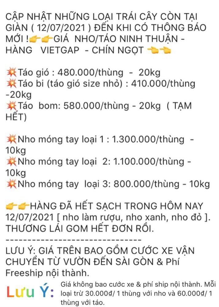 Hợp tác kinh doanh làm đại lý sỉ & lẻ lấy Táo/ Nho Ninh Thuận - hàng chuẩn VIETGAP
