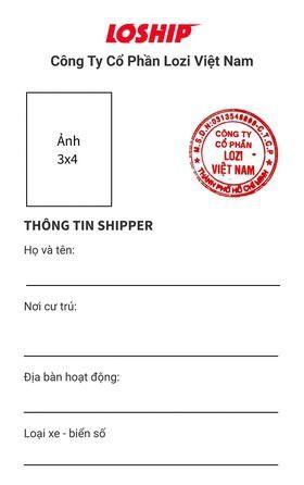 In thẻ tên Shipper Loship - Thẻ nhựa theo mẫu công ty | In Kỹ Thuật Số Since 2006