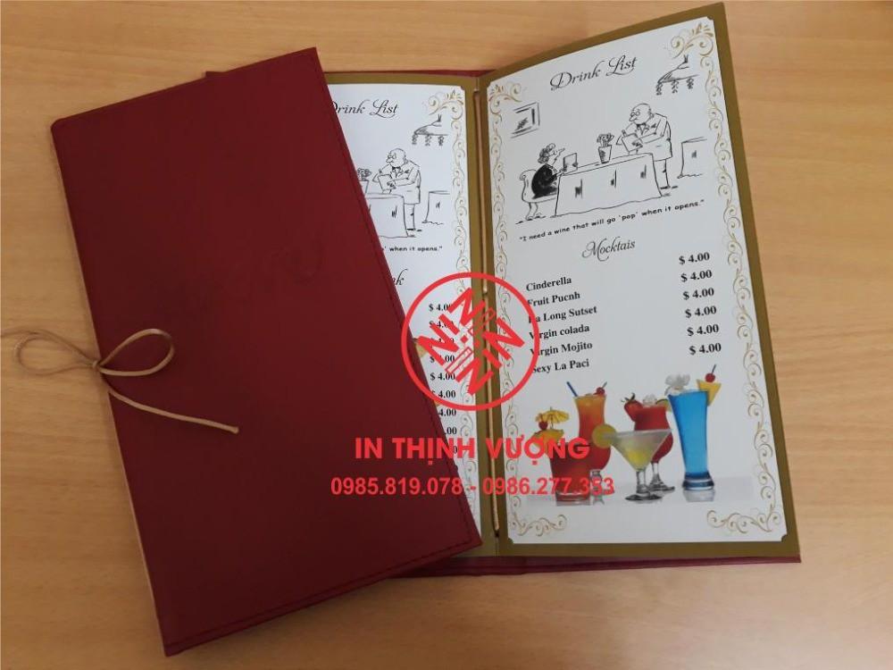 In menu, in thực đơn