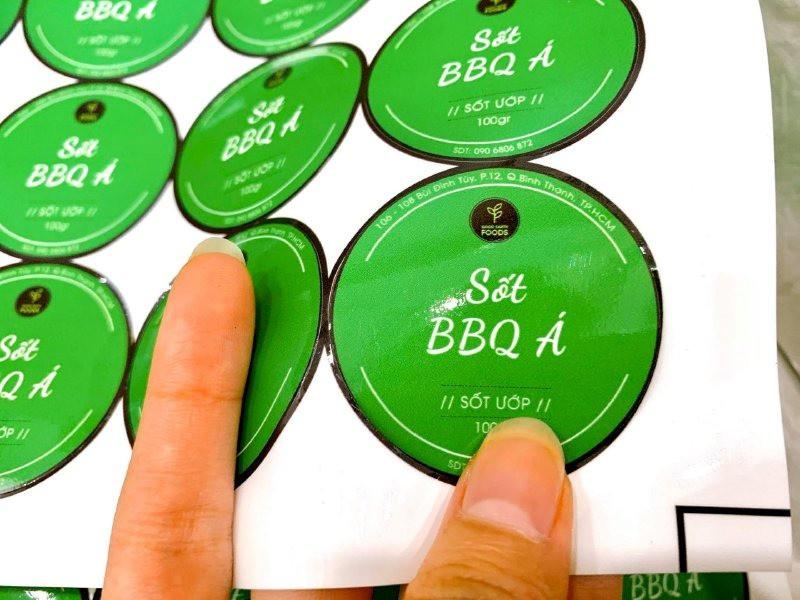 In tem nhãn sốt BBQ Á - tem dán chai sốt ướp | In Kỹ Thuật Số Since 2006