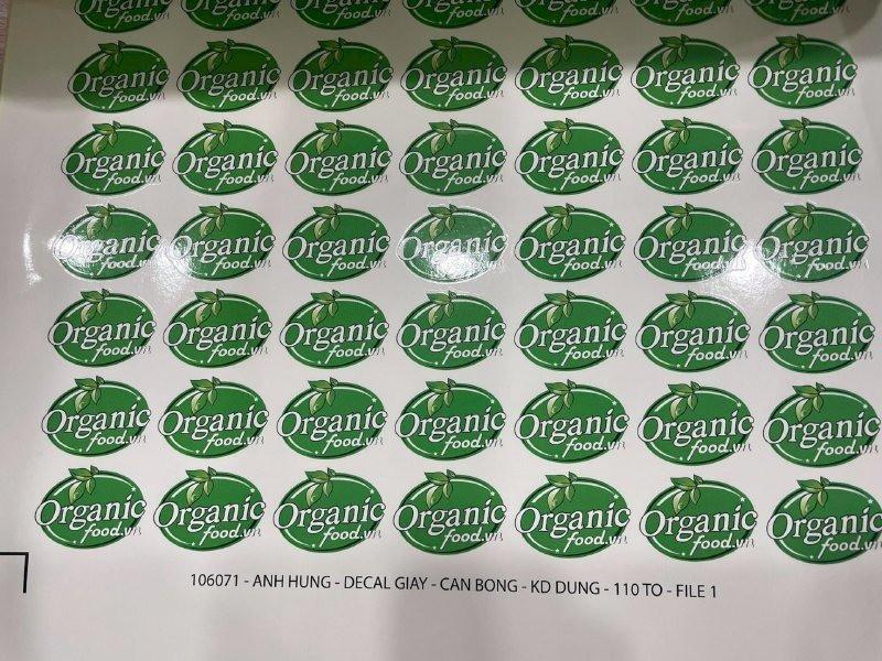In tem nhãn Organic Food - nhãn dán bao bì rau củ quả hữu cơ, trái cây nhập | In Kỹ Thuật Số Since 2006
