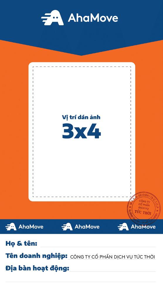 In thẻ tên Shipper Ahamove - Thẻ nhựa theo mẫu công ty | In Kỹ Thuật Số Since 2006