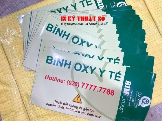 In tem nhãn dán bình oxy y tế - in banner đổi oxy miễn phí từ Decal
