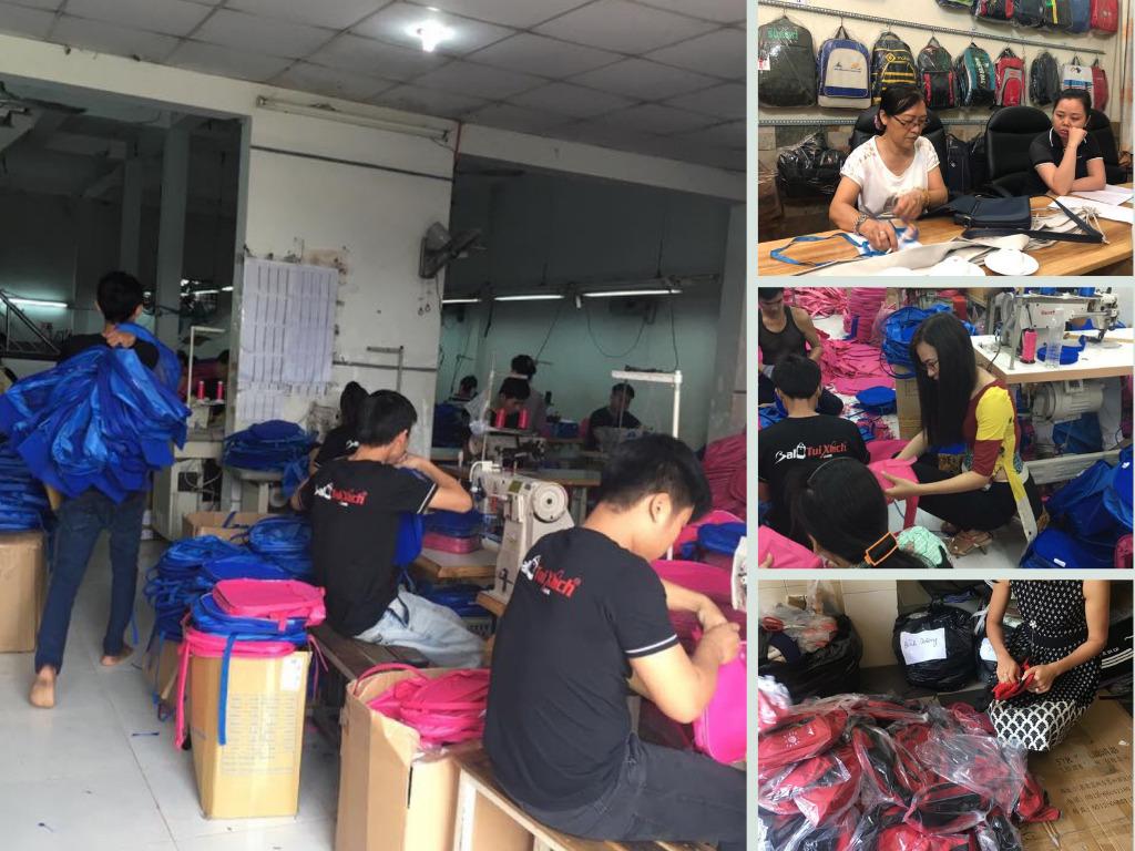 Xưởng sản xuất ba lô, xưởng may balo giá rẻ, sản xuất balo túi cặp học sinh TPHCM