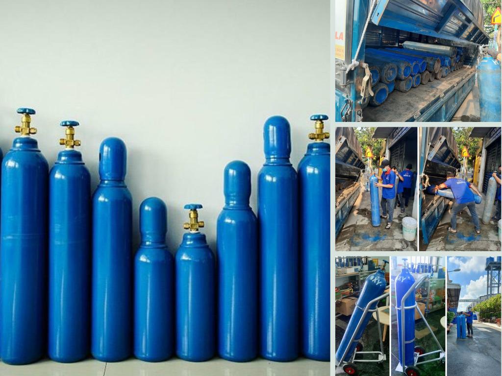 Địa chỉ thuê bình oxy y tế tại TPHCM - bình oxy y tế 5 lít, 8 lít, 10 lít, 14 lít, 20 lít, 40 lít có xe đẩy