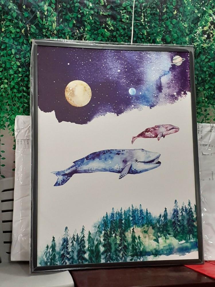 In tranh Canvas Cá Voi Xanh - Cá Voi Hồng kỳ ảo | Bầu trời - Cá voi xanh - Sự tái sinh | In Kỹ Thuật Số Since 2006