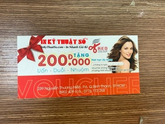 In voucher tóc uốn - duỗi - nhuộn từ salon tóc, tiệm cắt tóc | In Kỹ Thuật Số Since 2006